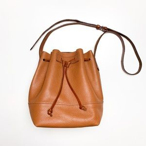 J.Crew Leather Bucket Bag Tan Cognac Brown Purse